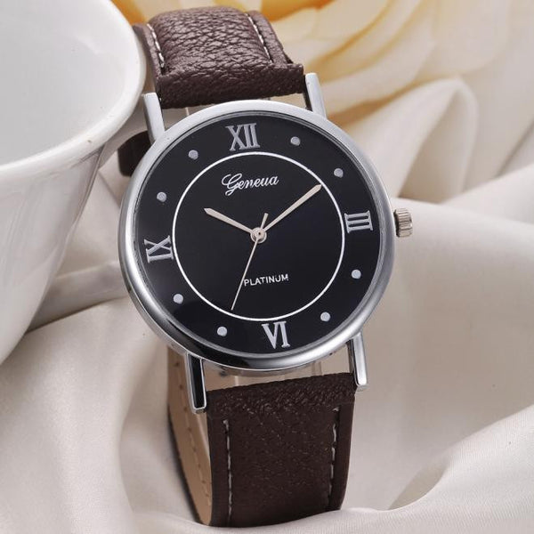2017 Unisex Fashionable PU leather Round Face Quartz Watch