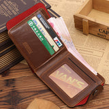 2017 Men's Vintage Multi-slots Leather Wallets with Zipper for coins