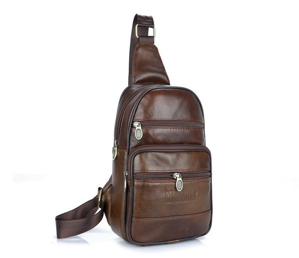 Genuine Cowhide Leather Men's Cross Body Sling Chest Bags