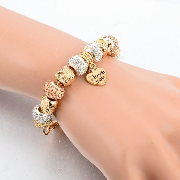 Women's Owl Heart Charm Gold Crystal Fine Quality Bangle Bracelets