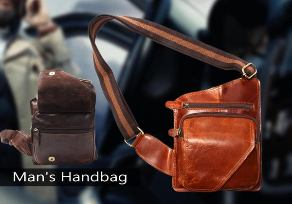 High Quality Vintage Men's Genuine Cowhide Leather Sling Chest Bags