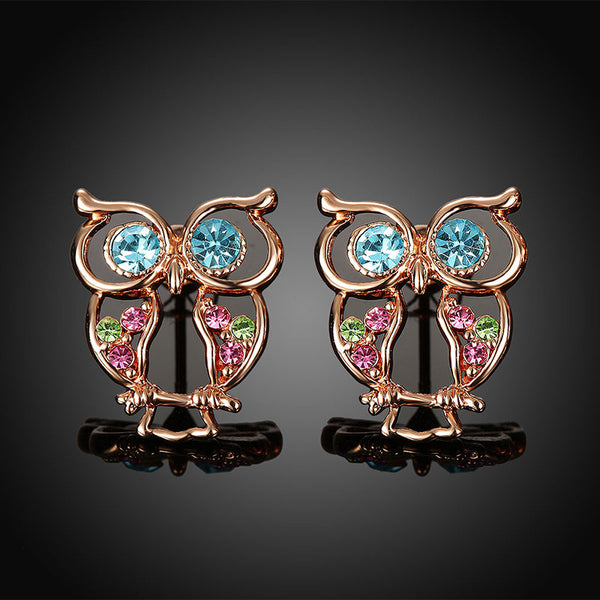 Unique Design Rose Gold Plated Owl Stud Earrings With Austrian Crystal