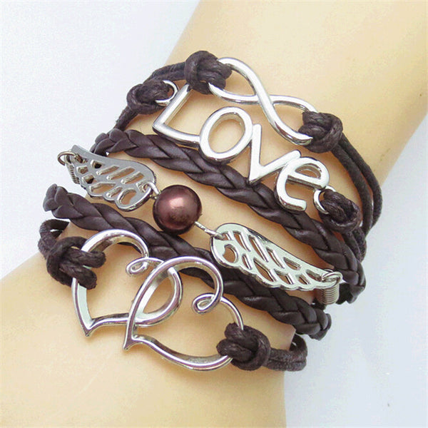 Women Multi-layer Braided Bracelets with Vintage Tiny cute Symbols
