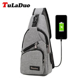 Men' cross body Canvas Chest Pack Bag with USB charger