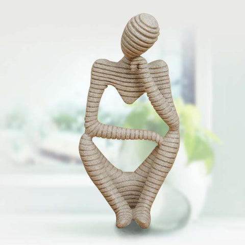 Decorative Resin Crafted with Sandstone stripe Figurine - the Abstract Thinker