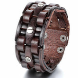 Men's Vintage Leather & Metal Alloy Bracelet