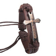 Vintage Men's leather Bracelet with metal cross chain links.