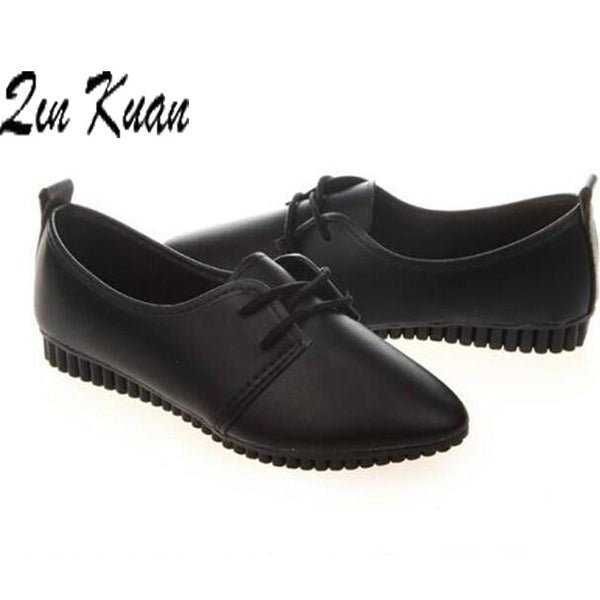 Women flat lace up pointed toe Casual leather shoes