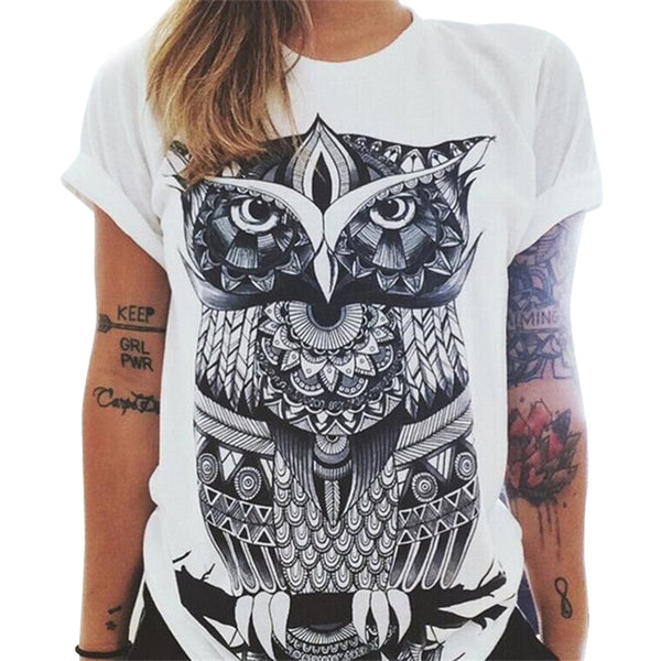 Owl print round neck women's t-shirt
