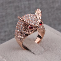 Owl design Rhinestone red big Owl eyes Gold plated ring for Women