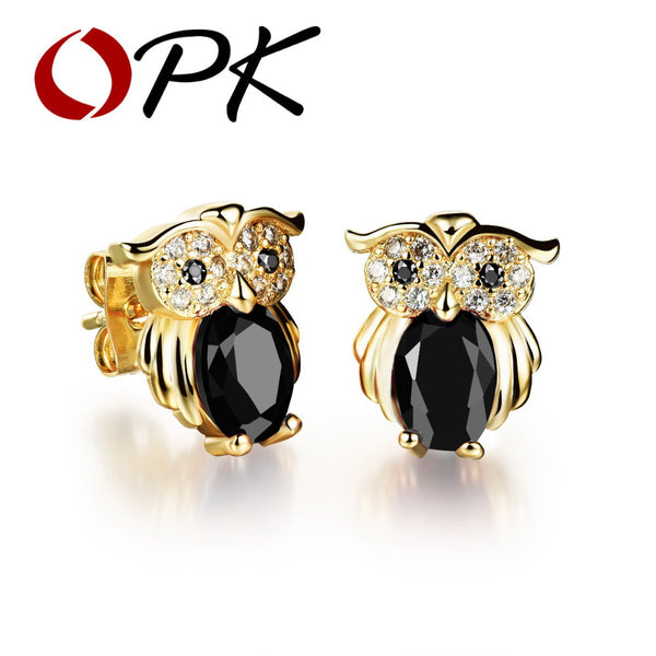 Vintage 18k Gold plated Zirconia Jewel Owl Design Stud Earrings