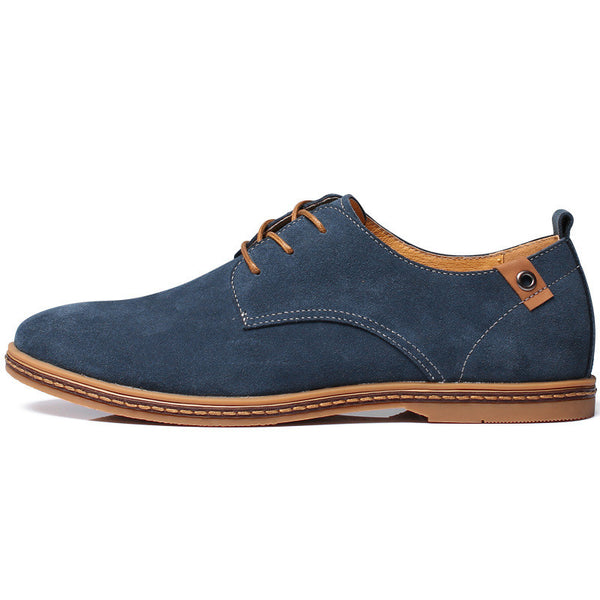 Men Suede Genuine Leather Low Flat Casual Oxford Shoes