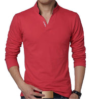 Men Polo Long Sleeve Casual Cotton T-Shirt