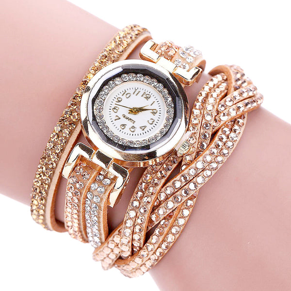 Gold plated Rhinestone Crystal Women fashion Bracelet Watch
