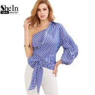 Korean Fashion Women one shoulder wrap down blouse