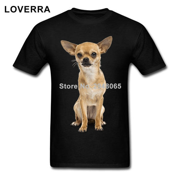 Short Sleeve Chihuahua Crew Neck T-Shirts for Men