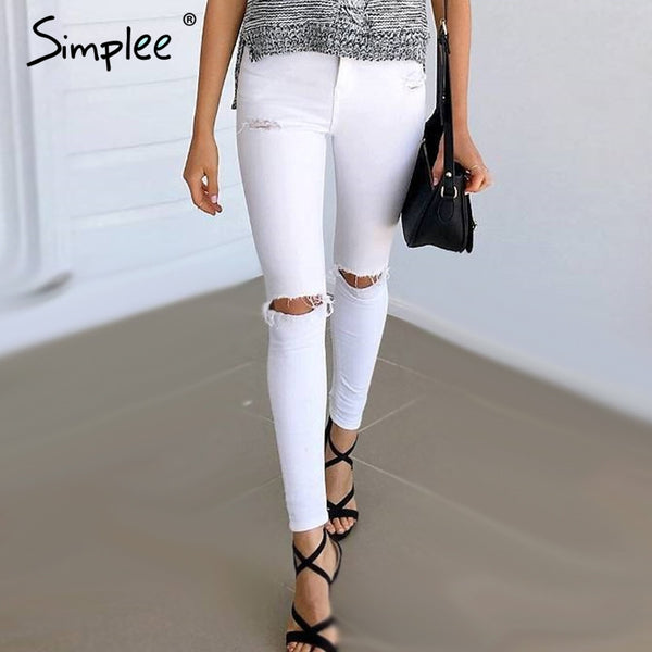 Summer Style Ripped Denim high waist Capris Women Skinny Jean
