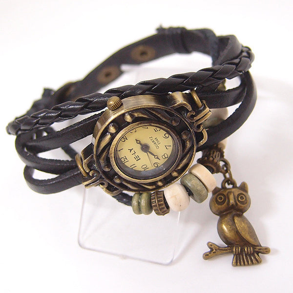 Vintage Owl Pendant Horn Bead Leather Bracelet Women's Wristwatch