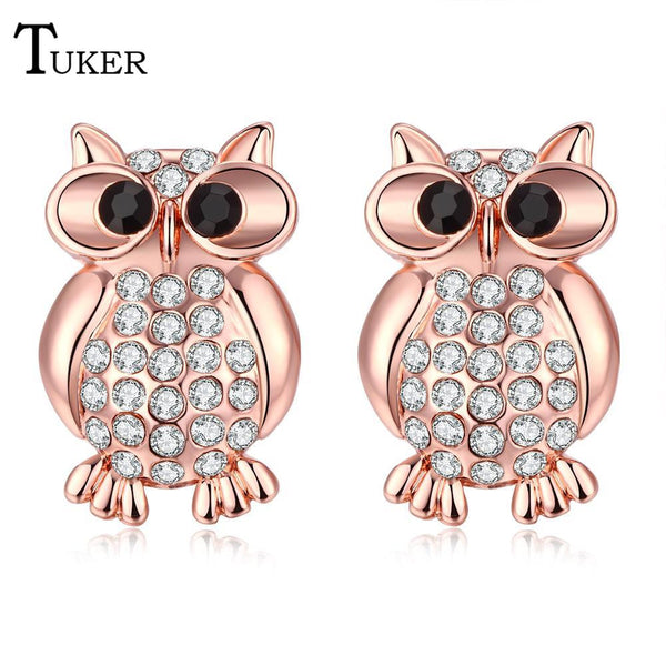 Gold Plated Rhinestone Austria Crystal Owl Design Stud Earrings
