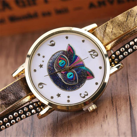 Unisex Gorgeous Owl face Braided Leather Bracelet Quartz Wrist Watch