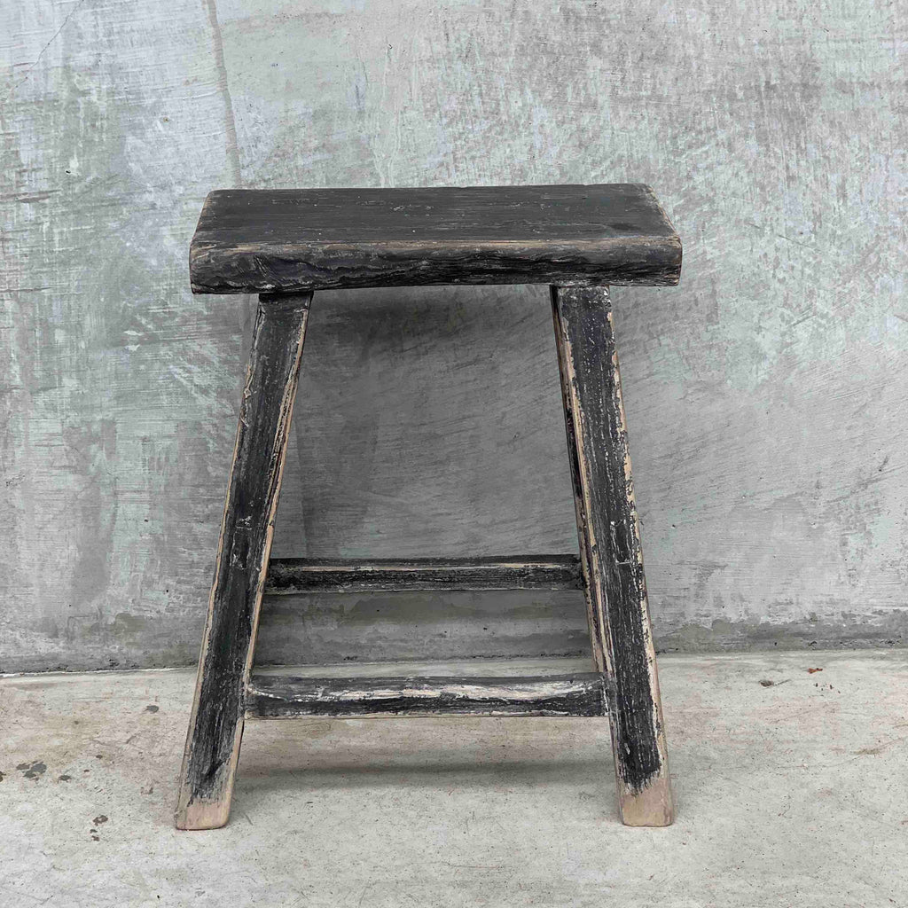 Dark rec elm workers stool