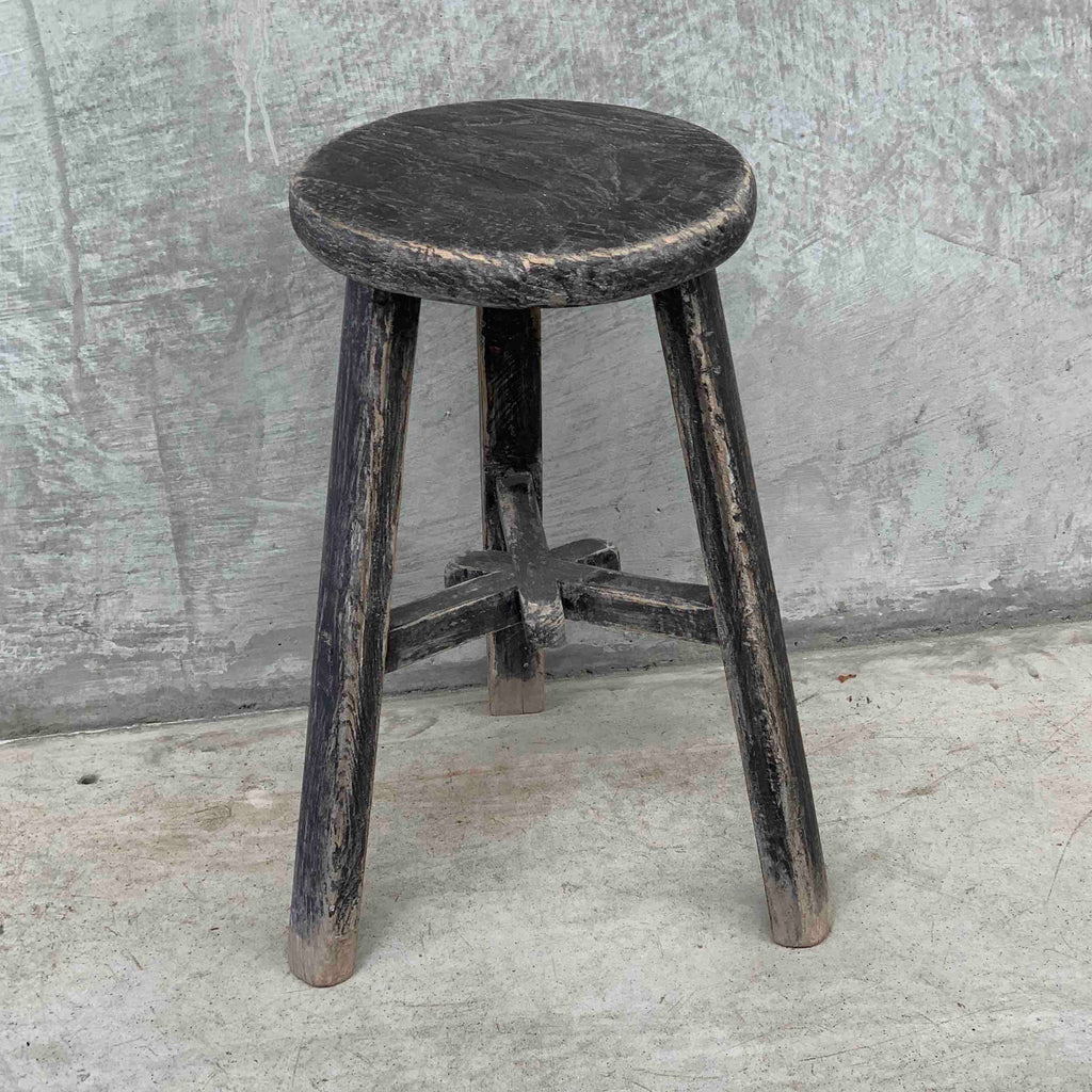 Dark round workers stool