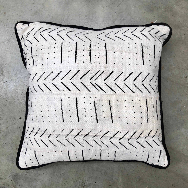 Medium White Mudcloth Cushion
