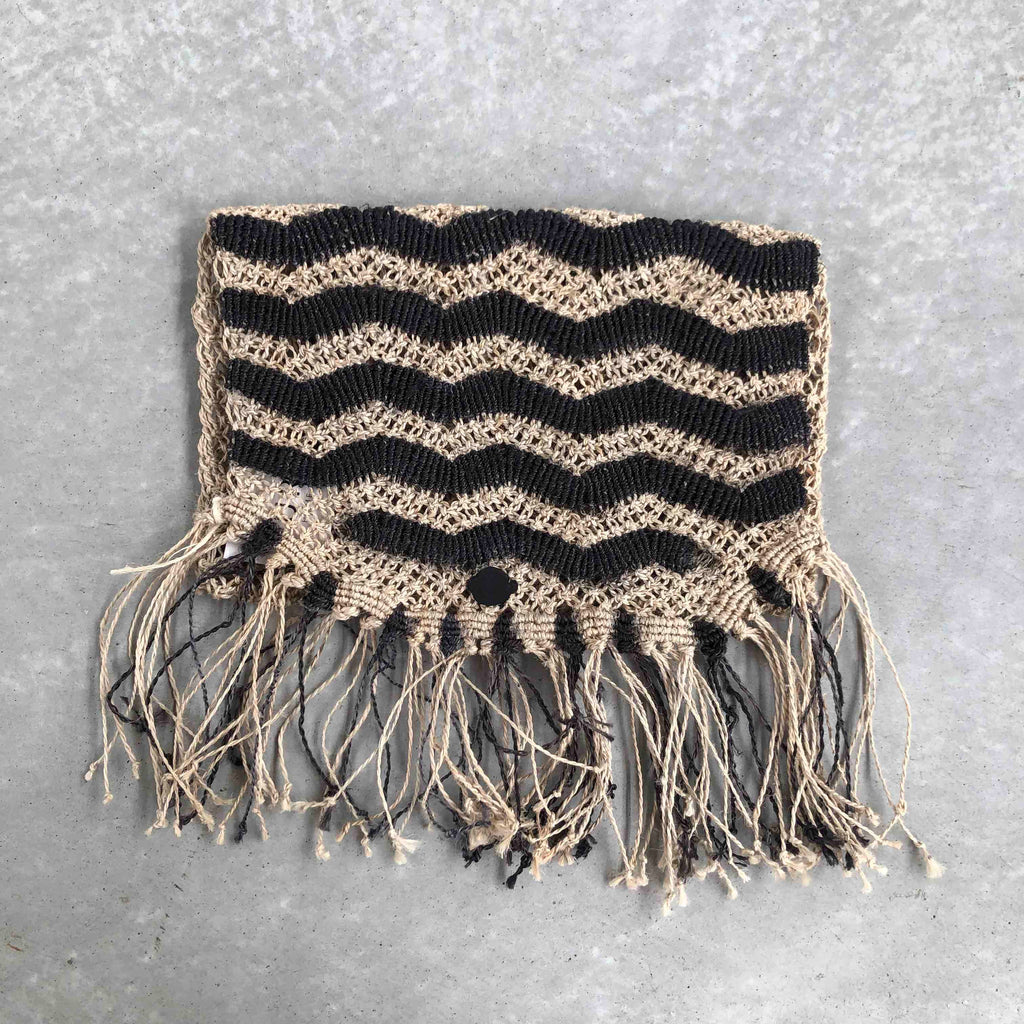 Jute Clutch Bag - Black + Nat