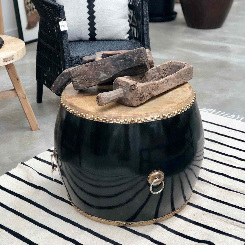 Black Wooden Leather Top Drum