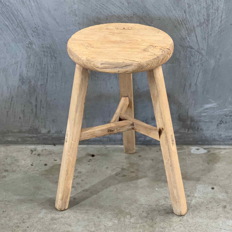 Low Round Elm Stool