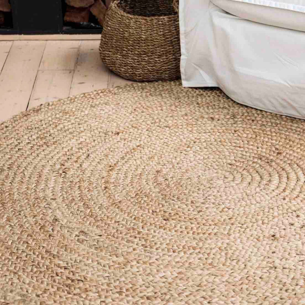Natural Round Braided Jute Rug