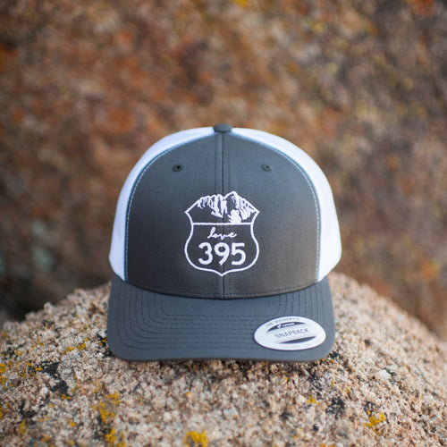 Embroidered Logo Trucker Hat, Gray/White