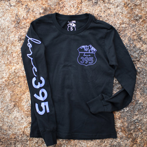 Youth long-sleeve tee, Black with purple logos