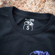 Youth long-sleeve black cotton tee w/ color logos (white, purple or pink)
