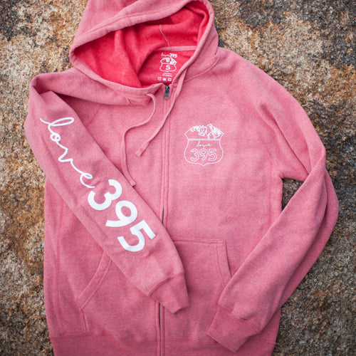 Unisex Logo Zip Hooded Sweatshirt (Pomegranate)