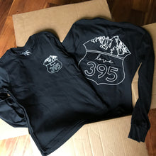 Youth long-sleeve tee, Black with white logos