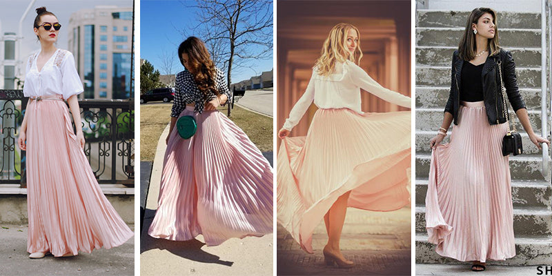 A| Chicloth Women Blush Pleated Full Length Maxi Skirt