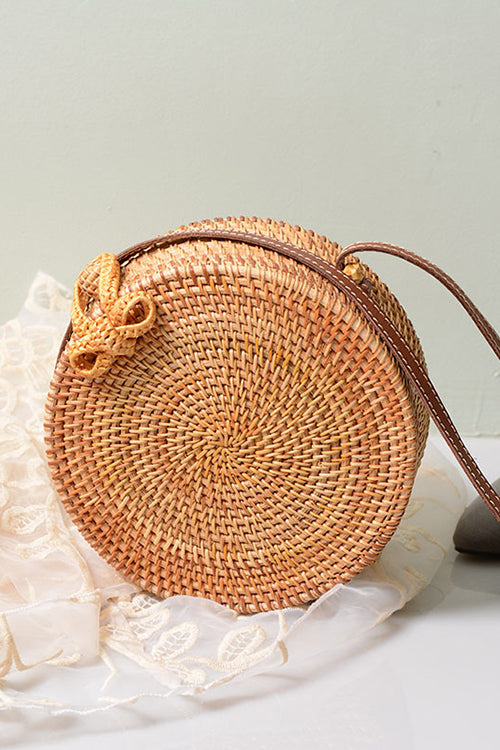 B| Chicloth Handmade Rattan Woven Leather Round Tote-bags-Chicloth