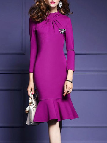 Purple Midi Dress Mermaid Party Dress Long Sleeve Elegant Solid Dress