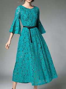 Aqua A-line Date Casual Guipure lace Solid Lace Dresses-Lace Dresses-Chicloth