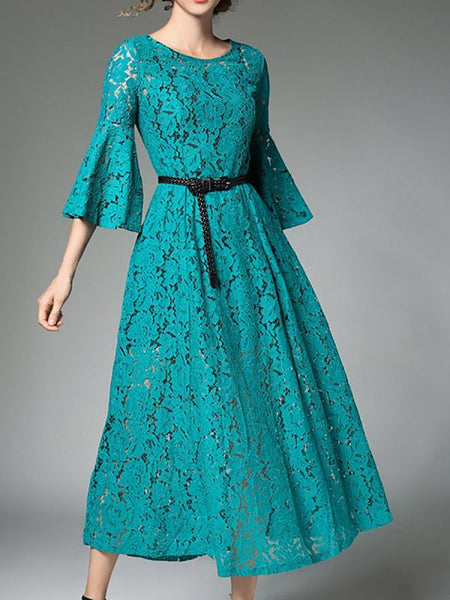 Aqua A-line Date Casual Guipure lace Solid Midi Dress