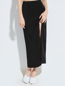 Chicloth Black High Waist Long Slit Skirt