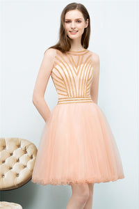 AA| Chicloth A-Line Short Sleeveless Beading Tulle Homecoming Dresses