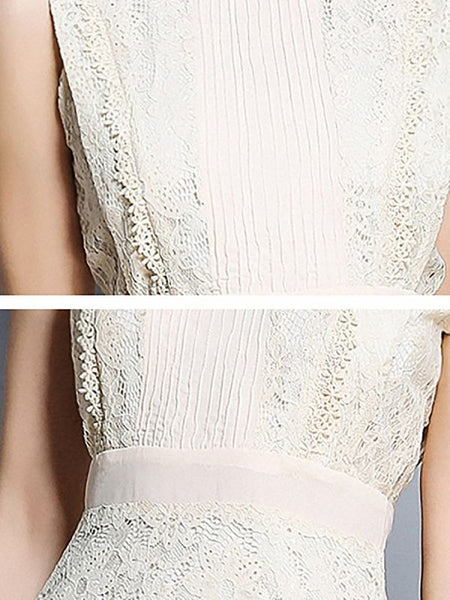 Beige Lace Evening A-line Solid Sleeveless Crew Neck Guipure lace Prom Dresses-Midi Dresses-Chicloth