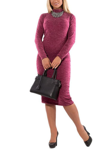 B| Chicloth Women Turtleneck Bodycon Dress Long Sleeves Sheath Stretchy Plus Size Pencil Dress-polyester,kneelength,highneck,plussizedresses-Chicloth