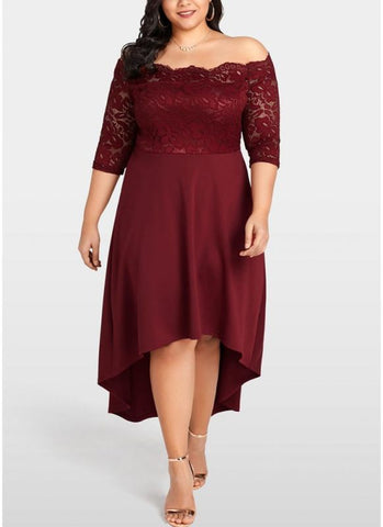 B| Chicloth Women Party Dress Plus Size Lace Scalloped Nightclub Vestidos Dress-polyester,hilo,bateau,promdresses-Chicloth