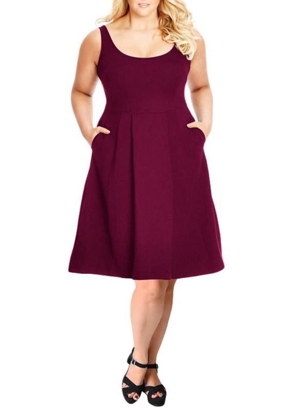 B/ Chicloth Women Plus Size Tank Dress Solid Swing Dress A-Line Casual Midi Dress - Burgundy / 6XL