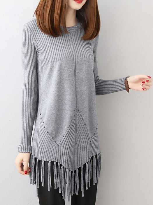 Casual Long Sleeve Crew Sweaters-Sweaters-Chicloth
