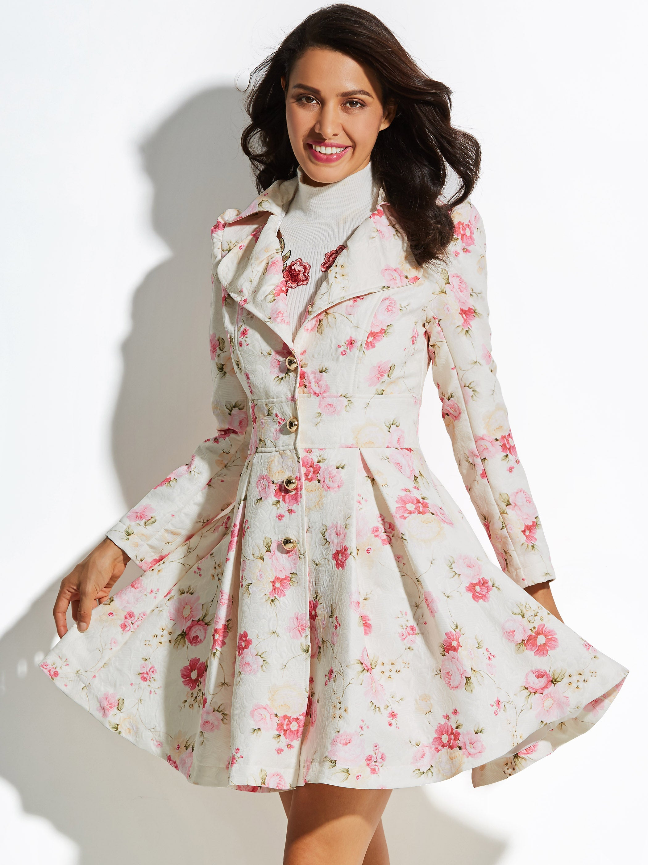 Chicloth Floral Sweet A-line Vacation Women's Overcoat - L / Pink