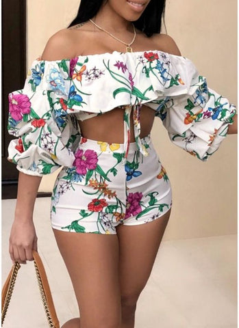 Women Floral Two-Piece Set Ruffles High Waist Crop Top Pants Nightclub Party Suit
